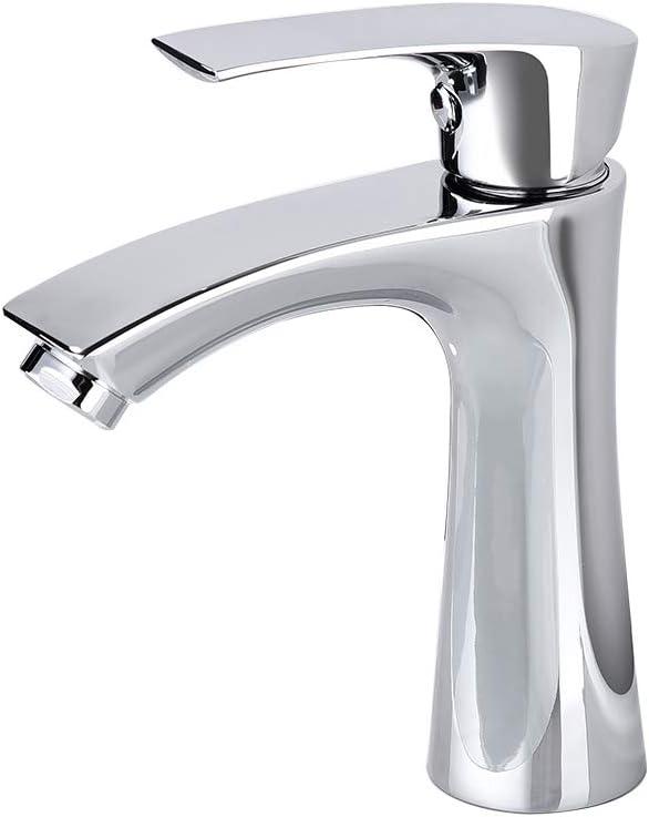 AiHom Grifo de Lavabo Monomando para Agua Fría Acabado Cromado Estándar Universal G3/8 y G1/2 Grifo de Baño Plateado Sencillo de Instalar