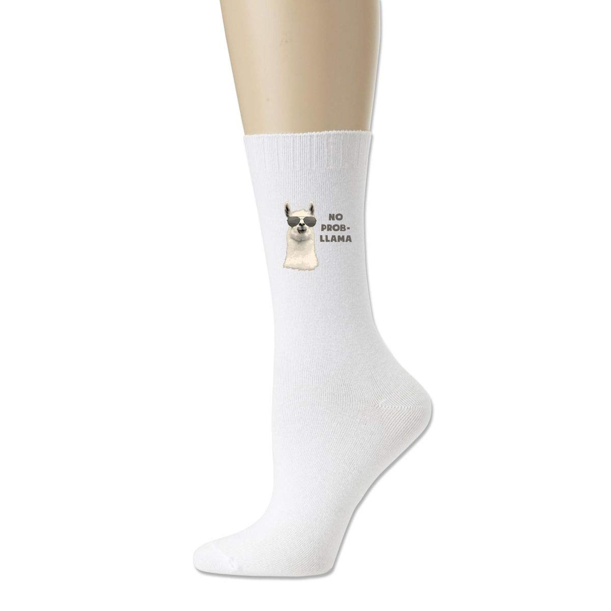 Men High Ankle Cotton Crew Socks No Prob Llama Casual Sport Stocking