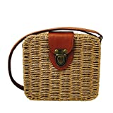 Summer Straw Woven Bag for Women Beach Handbag Crossbody Shoulder Bag Messenger Satchel (Khaki)