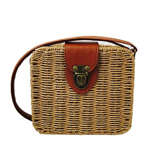 Summer Straw Woven Bag for Women Beach Handbag Crossbody Shoulder Bag Messenger Satchel (Khaki) by e-fly