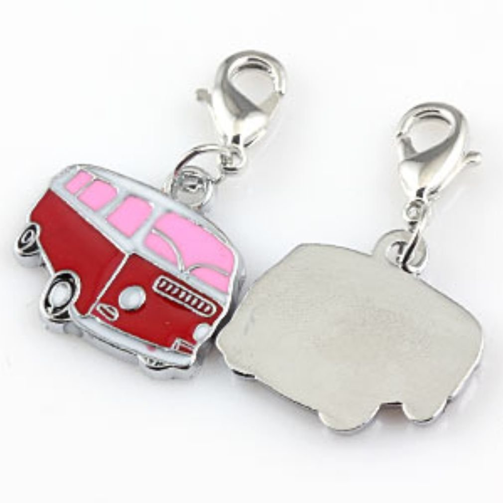 Pink Red VW Style Camper Van Pendant Clip On Clasp Charm Bead Fits Traditional Link Bracelets