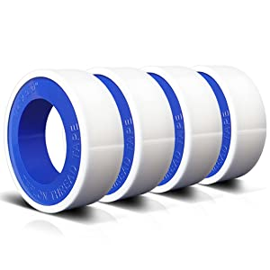 4 Rolls 1/2 Inch(W) X 520 Inches(L) Teflon Tape,for Plumbers Tape,Plumbing Tape,PTFE Tape,Thread Tape,Plumber Tape for Shower Head,Pipe Sealing,Thread Seal,White