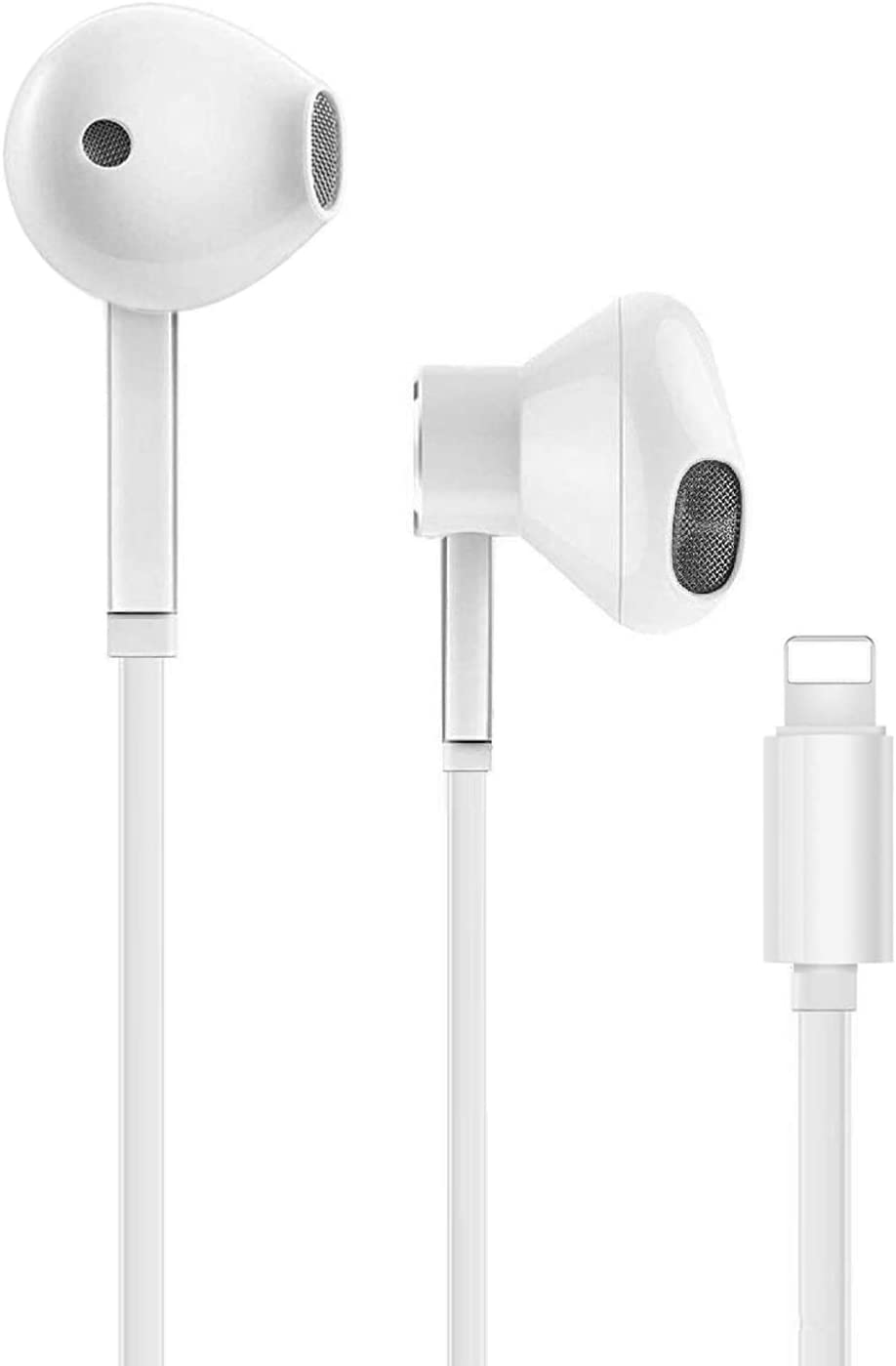 Earbuds with Lightning Connector, MFi Certified Wired In-Ear Headphones HiFi Audio Stereo Earphones, With Microphone and Volume Control, Compatible With iPhone7/7Plus/8/8Plus/X/XSMax /11/11Pro - White