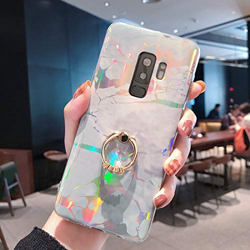 Glitter Marble Case for Samsung Galaxy S9 Plus with Ring Kickstand,QFFUN Luxury Bling Design Ultra Thin Soft Silicone Phone Case 360 Degree Rotating Holder Protective Cover and Screen Protector-Silver