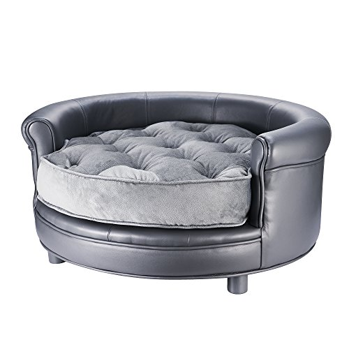 VILLACERA Chesterfield Faux Leather Large Dog Bed Designer Pet Sofa Gray