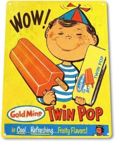 Metal tin Sign 8x12 inches TIN Sign Wow Twin Pop Ice Cream Vintage Ice Cream Metal Decor