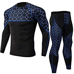 Men Quick Dry Compression Sports Set Long Sleeve T-Shirt Workout Fitness Bodysuit, Men's Thermal Underwear Set, Sport Long Johns Base Layer for Male, Winter Gear Compression Suits for Skiing Running