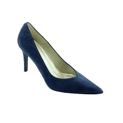 Angelina® PACOME Chaussures Femme Escarpins Bout Pointu Talon Haut Aiguille Marque  Cuir Daim Bleu Marine aea8a46576a1