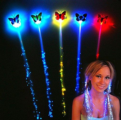 German Trendseller® - LED Schmetterling Haarschmuck inkl. Haarclip ┃ 36 cm ┃ Farbwechsel ┃ Regenbogen ┃ LED Schmuck