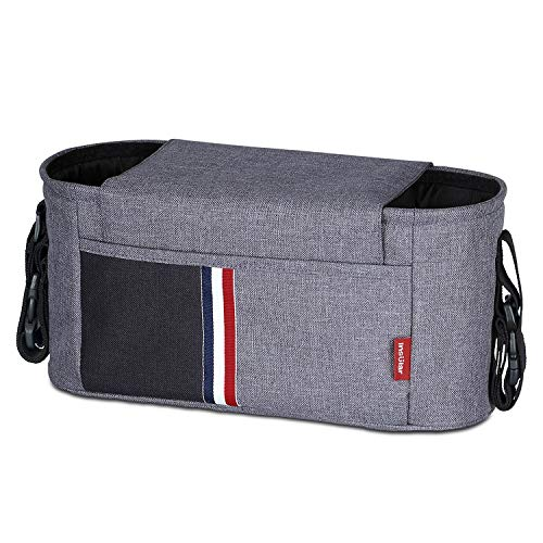 - Universal Stroller Organizer Bag with 2 Cup Holders for All Strollers, Adjustable Straps & Zipper Pocket for Cell Phone, Extra-Large Storage Space for Diapers, Wipes, Food, Toys - Gray