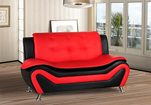 (Container Furniture Direct S5412-L Arul Leather Air Upholstered Mid Century Modern Loveseat Black/Red)