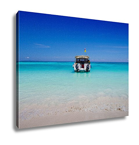 Ashley Canvas, White Sand Beach And Speed Boat For Day Trip, 24x30 by Ashley Canvas