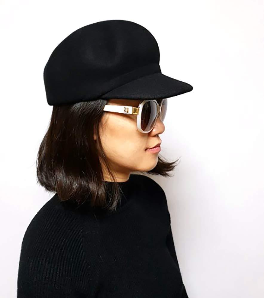 Women's Eva Gatsby Newsboy Stylish Hat Wool 100% (Black)