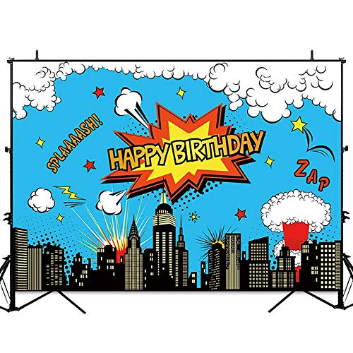 (Allenjoy 7x5ft Superhero Happy Birthday Photo Backdrop Super Hero Party Supplies Blue Sky Modern City Photography Background Boys Cake Table Banner Photobooth)