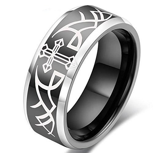 Mens Womens 8mm Tungsten White Cross Plated Black Ring Wedding Engagement Angel Wings Personalized Band (Plated Cross Black)