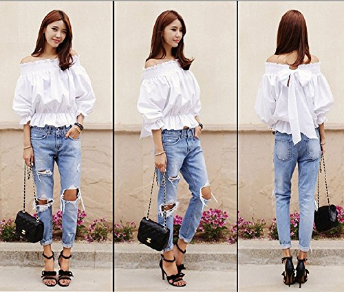 Casual Stretch Sexy Jeans Club Trou Denim Femmes Color Dchir vider One Minetom Partie Boyfriend gvx4wqqdt