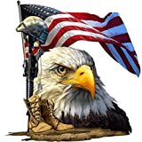 Salute Our Flag American Bald Eagle Decal | Waterproof Permanent Collectible Patriotic American Flag Car Motorcycle Bicycle Skateboard Laptop Luggage Bumper Vinyl Decal | Size: 7