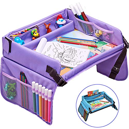 Soft Travel Tray - Kids Travel Play Tray - Activity, Snack, Play Tray & Organizer for Car Seat, Stroller Or Airplane Traveling Ð Keeps Children Entertained Ð Portable and Foldable + Free Bag & E-Book by KBT