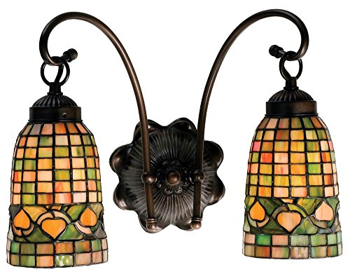 Meyda Tiffany 18651 Tiffany Acorn 2 Light Wall Sconce, 14.5