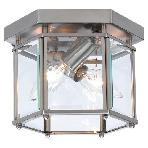 - Sea Gull Lighting 7647-962 Bretton Two-Light Flush Mount Ceiling Light With Clear Beveled Glass Panels, Brushed Nickel Finish