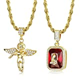 Jstyle 2Pcs Gold Plated Necklaces for Women Men Prayer Hand Angel Pendant Necklace Ice Out Hip Hop Rope Chain 24'' 30''