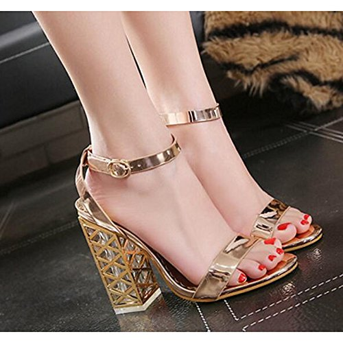 ZHZNVX Zapatos de mujer PU Primavera Verano bomba básica Comfort sandalias Chunky talón Casual champán negro Champagne