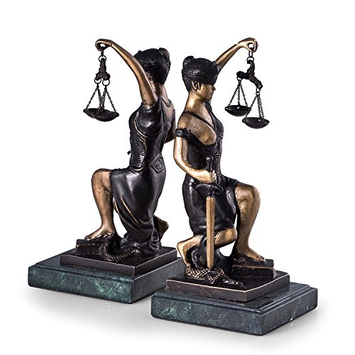 (KensingtonRow Home Collection Bookends - Kneeling Lady Justice Bronze & Marble Bookends - Lawyers & Legal)