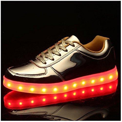 (Present:kleines Handtuch)JUNGLEST Unisex Damen Herren USB-Lade LED leuchten Glow Schuhe Luminous Sportschuhe Lovers Flashing Tu Gold