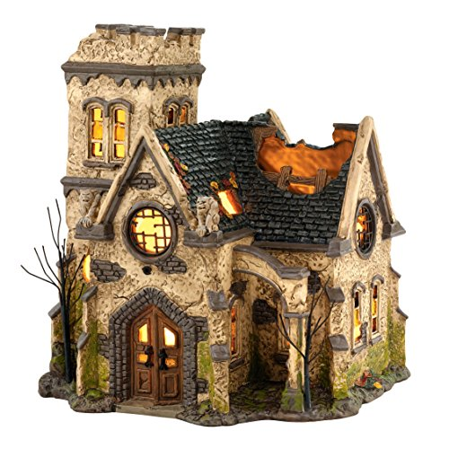 Department 56 4036592 Snow Village Halloween The Haunted Church Lit House, 9.06 -
