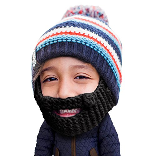 Beard Head Kid Gromm Beard Beanie -Knit Hat and Fake Beard for Kids and Toddlers Black]()