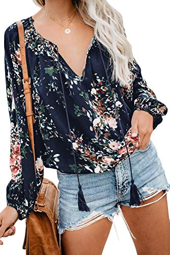 - Women Long Sleeve V Neck Floral Print Shirt Tops Fashion Chiffon Loose Blouse Tee Floral Blue S
