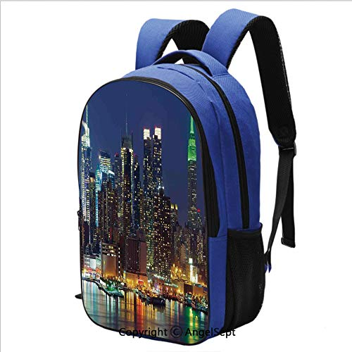 Backpack for School College Student NYC Midtown Skyline in Evening Skyscrapers Amazing Metropolis City States Photo Bookbag for College Middle School Students with Padded Shoulder Straps,Royal ()