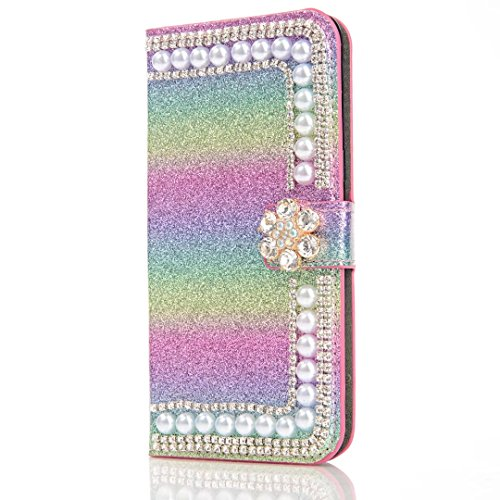 Green Rainbow Crystal (Galaxy S8 Plus Case,Samsung Galaxy S8 Plus Wallet Flip Case,Gostyle Luxury [Bling Diamond Crystal Flower] Glitter Rainbow Magnetic Leather Green Purse Case with Stand Function,Cash/Card Holder Slots.)