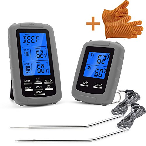 Wireless Remote Digital Cooking Food Meat Thermometer Dual Probe Anti-high Temperature Waterproof Smoker Oven Grill BBQ Thermometer (Digital Meat Programmable Thermometer)
