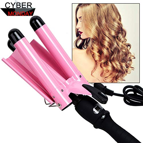 Curling Iron, 3 Barrel Hair Waver 25mm Stylish Fast Heating Hair Curlers with LCD Display Temperature Adjustable Ceramic Beach Waver Hair Curlers New Hair Styling Tools