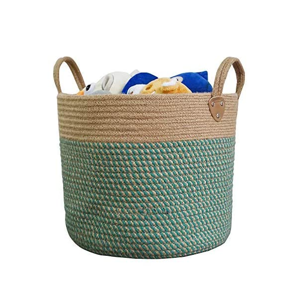 14″ x 12″ Large Storage Basket Hemp Rope Baskets Woven Laundry Basket for Toys,Clothes, Blankets,Collapsible Storage Organizer Basket