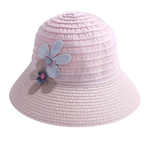 KimmyKu Kids Toddler Little Girls Pink Straw Floppy Sun Hats Cap Buckle Hat - Cotton Straw Cap