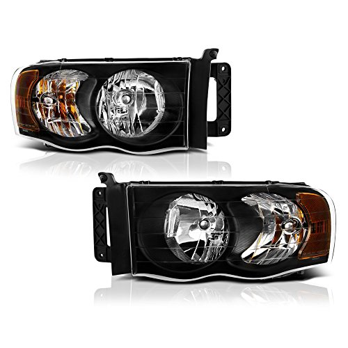 VIPMOTOZ Black Housing OE-Style Headlight Headlamp Assembly For 2002-2005 Dodge RAM 1500 2500 3500 Pickup Truck, Driver & Passenger Side