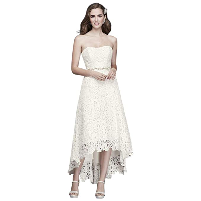 High Low Tea Length Corded Lace Wedding Dress Style Wg3925