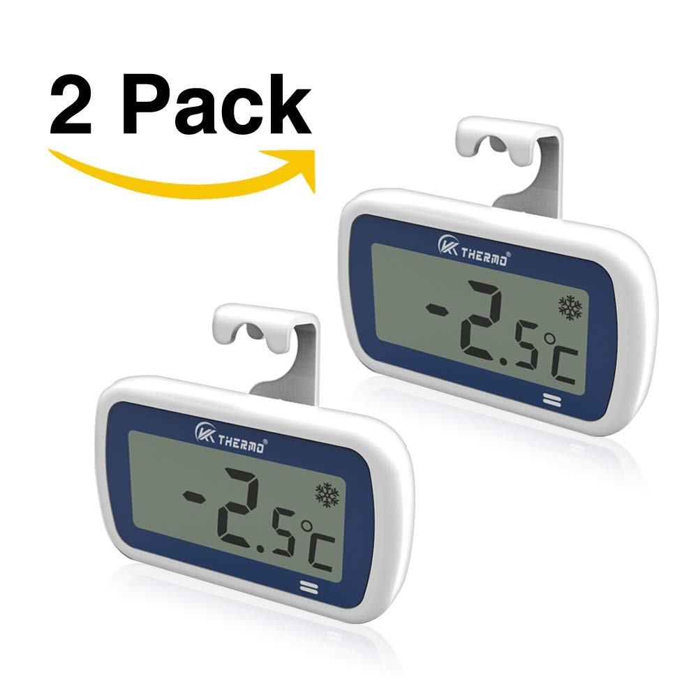 "2 Pack Waterproof Freezer/Refrigerator Thermometer with 2"" Large LCD, IP65 Alarm–Professional Digital Accurate Mini Fridge thermometer – for Fridge, Refrigerator, Freezer, rv Freezer Fresh Stored (2)"