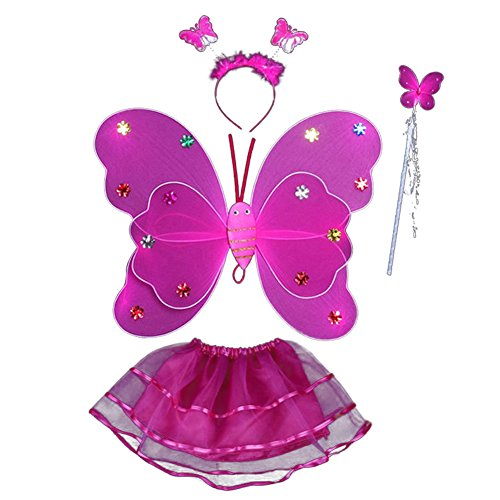 Fairy Lumimous Kids Halloween Costume Props Butterfly Wing Wand Headband Tutu Skirt Set (Rose (Make Your Own Angel Costume For Halloween)