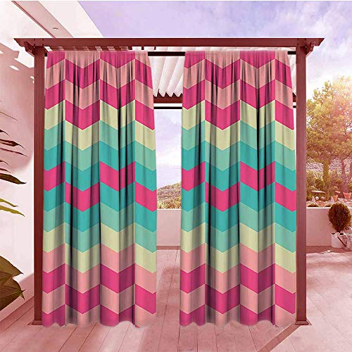 Outdoor Curtains Geometric Decor Collection Retro Pattern Mexican Floral Bohemian Trendy Contemporary Art Simple Stylish W84x84L Magenta Dark Turquoise -
