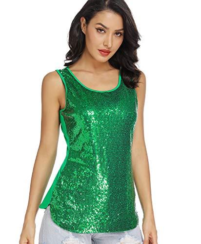 MS STYLE Women's Sparkle Sequin Top, Sleeveless Round Neck Shimmer Camisole Vest Sequin Tank Tops for Women Green, Large]()