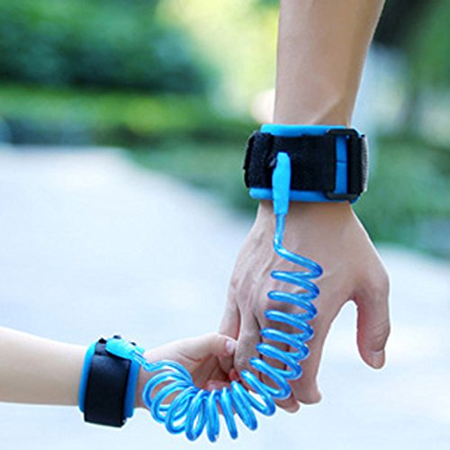 Rope Leashes Safety Child Lost with Breathable Cotton Straps Velcro Wrist for Kids Baby Toddler Child- Blue (2.5 m) (Hands Free Jogging Stroller Adapter)