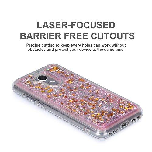 Funda Huawei Honor 6A, Caselover 3D Bling Silicona TPU Arena Movediza Lentejuelas Carcasa para Honor 6A Glitter Líquido Brillar Cristal Sparkle Protección Caso Suave Transparente Claro Bumper Case Cov Rosa y oro