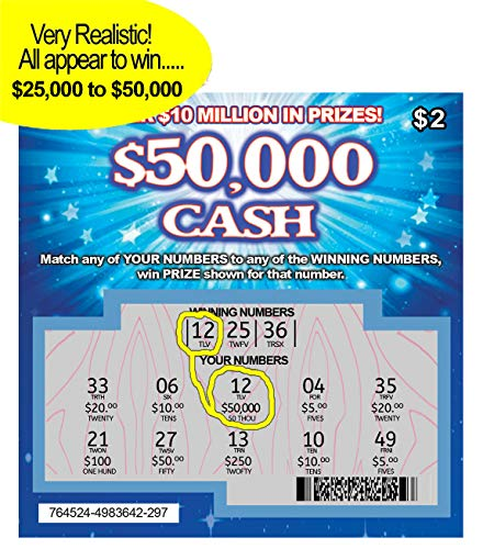FMPLT- Fake Joke Prank Lottery Tickets Scratch Off - All Win $25,000 to $50,000 - The Ultimate Prank - http://coolthings.us