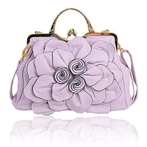 (Zzfab Big Flower Purse with Clasp Violet)