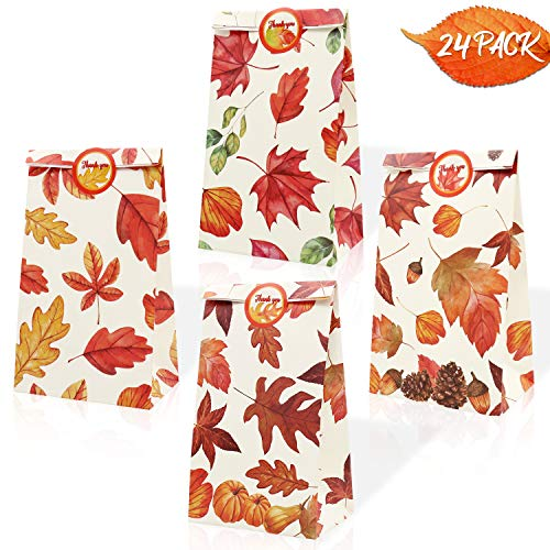 Faisichocalato Autumn Leaves Bags Fall Theme Party Favor Bags Maple Leaf Treat Candy Bags Thanksgiving Pumpkin Baby Shower Birthday Fall Bridal Shower Wedding Supplies 24 Pack (Thanksgiving For The Gift Of A Child)