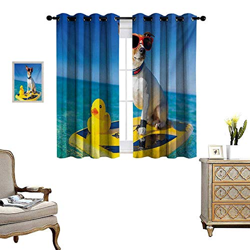 Rubber Duck Waterproof Window Curtain Dog with Sunglasses and Rubber Duck on Surfboard at Ocean Shore Fun Summer Blackout Draperies for Bedroom W63 x L63 Multicolor ()