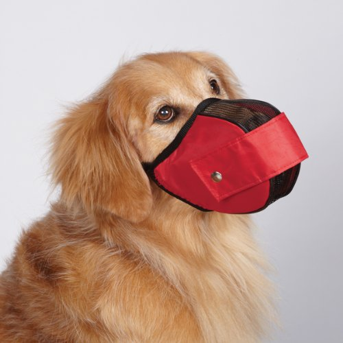 Image of Guardian Gear Cordura Nylon Fabric Mesh Dog Muzzle, Medium, 9-1/2-Inch, Red